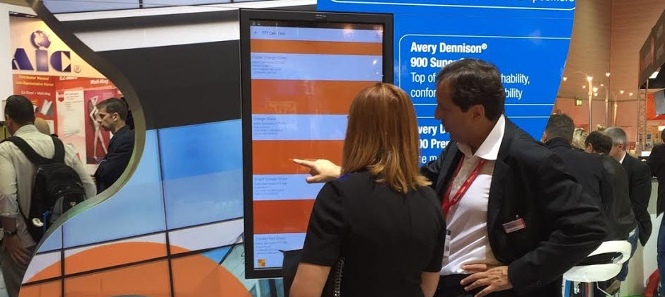 Avery Dennison Colour Swatch App displayed at FESPA in Germany.