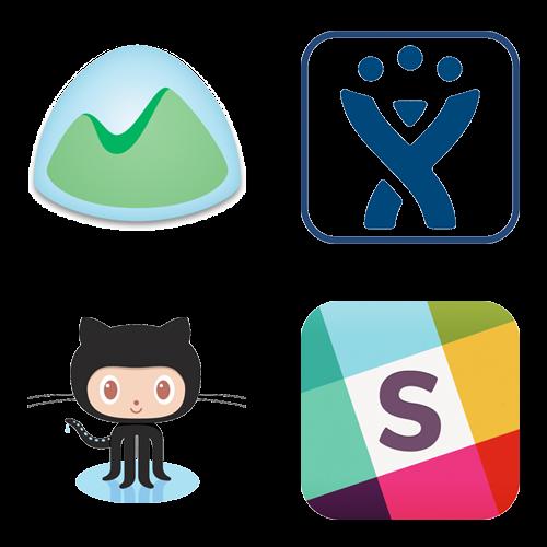 Basecamp, JIRA, Github, and Slack
