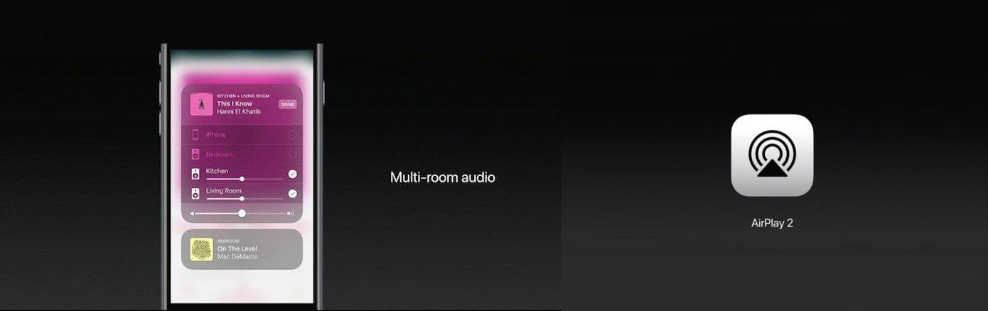 Left: Mockup of Multi-Room Audio Controls within iOS 11 - Right: Icon of AirPlay2